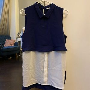 Blue and white shirt summer top